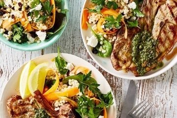 Barbecued Lamb Chops with Pesto and Cous Cous Salad